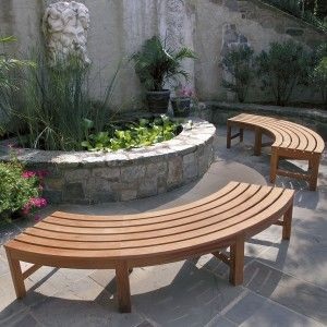 curved bench plans circular benches are 8 foot are fit into a specific area in the landscaping with curved stone and brick patios
