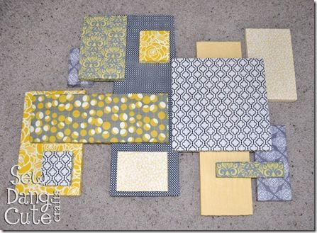 (1) Gray + Yellow = Awesome. (2) Styrofoam squares/rectangles covered in fabric. (3) Wall art, with levels!