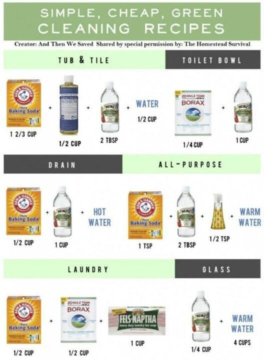 Clean your home naturally without all those chemical ridden cleaning products! Vinegar, borax, and a little warm water is all you need to keep everything sparkling. #greencleaning #ecofriendly #healthycleaning