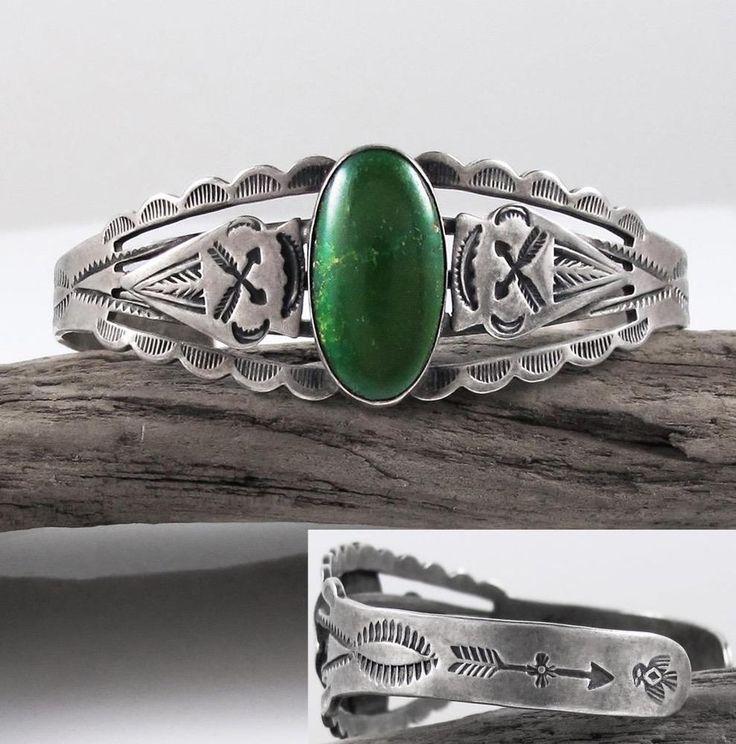 Vtg Old Pawn Navajo Fred Harvey Era Stamp Green Turquoise Sterling Cuff Bracelet #NativeAmericanOldDeadPawn