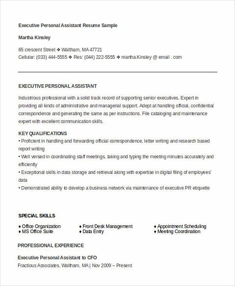 personal assistant description for resume
