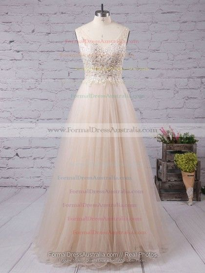 Glamorous A-line V-neck Tulle Appliques Lace Floor-length Backless Formal  Dresses 81f142c5b