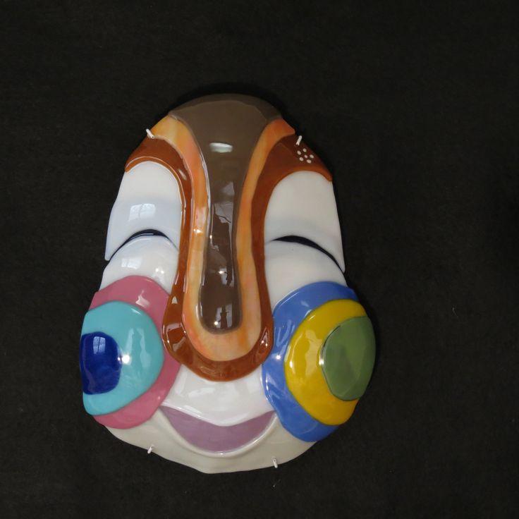 Fused glass Mask . Japanes Otafuku
