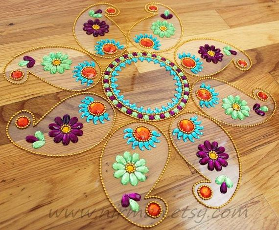 "rangoli floor art~ Awesome idea for a ""reusable"" decoration and craft with the kids!"