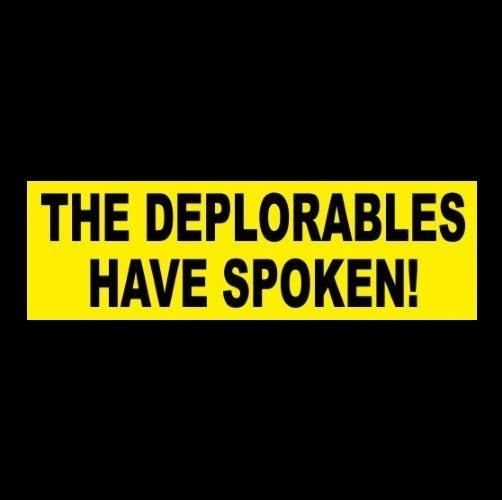 "Funny ""THE DEPLORABLES HAVE SPOKEN"" Anti Hillary BUMPER STICKER Donald Trump '16"