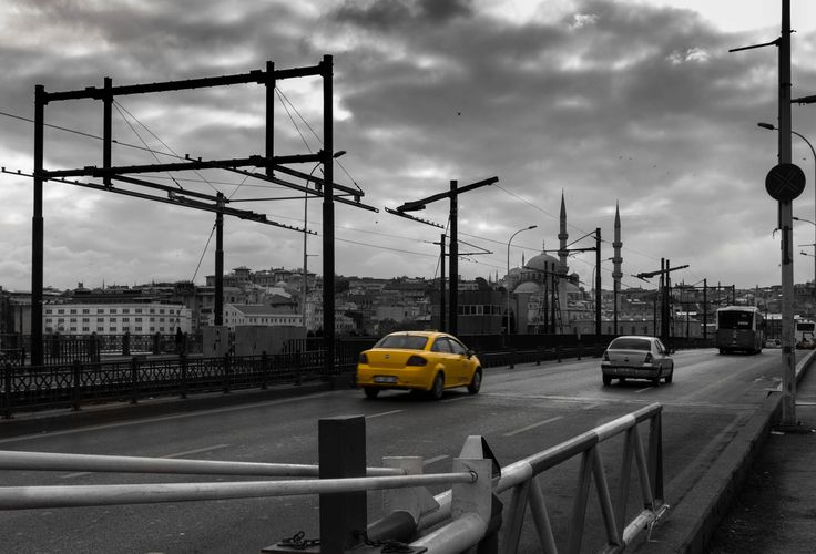 Taxi on Galata Bridge - selective color