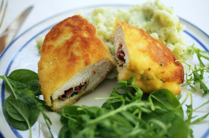 Ultimate Chicken Kiev - with mash potato mashed with cooked broccoli - Jamie Oliver