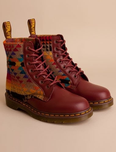 ALICE - Really like these (maybe maroon could be a thought for connection with kid + if her jacket is leather silver esq like Rob's? ) Doc Martens x pendleton