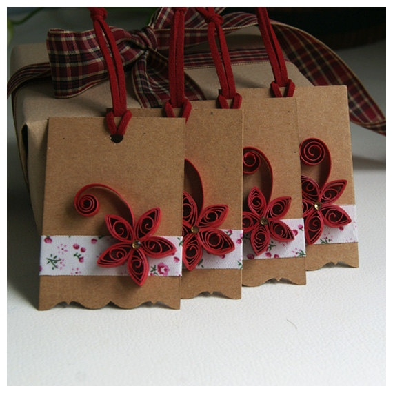 Set of 4 Christmas Gift Tags Paper Quilling Gift Tags by soarsense, $8.90