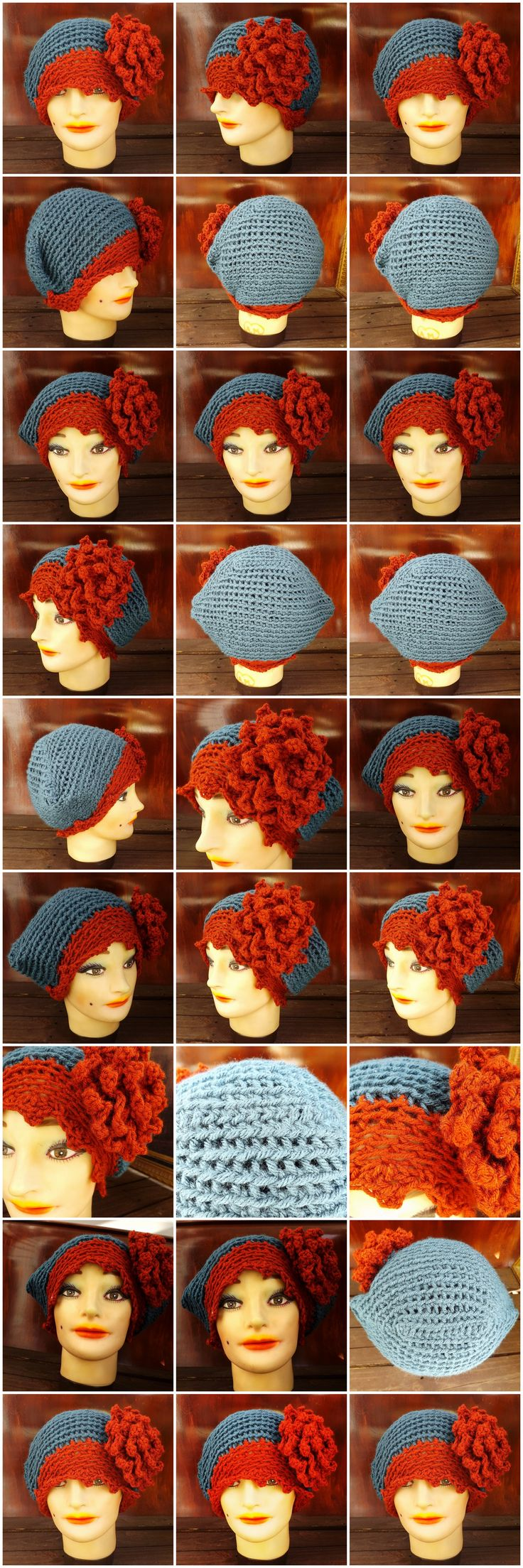 EVE Crochet Cloche Hat in Orange and Blue with Flower $40.00