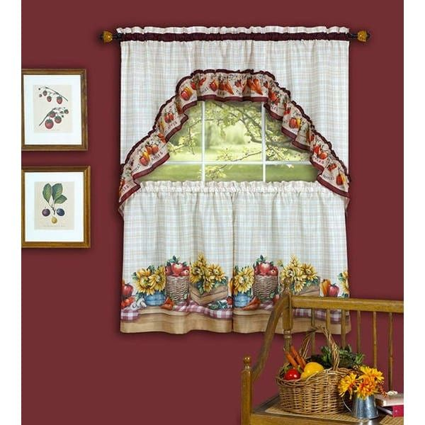 ACHIM Farmer's Market Tiers and Swag Kitchen Curtain Set, 57x36 and 57x30, Multi (Polyester, Graphic Print)