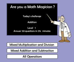 """This is an image from this resource on the Internet4Classrooms' """"Second Grade Math help for standardized tests, adding, addition"""" resource page: Are You a Math Magician? Choose a level and select addition. Try to do as many questions in the time allotted."""