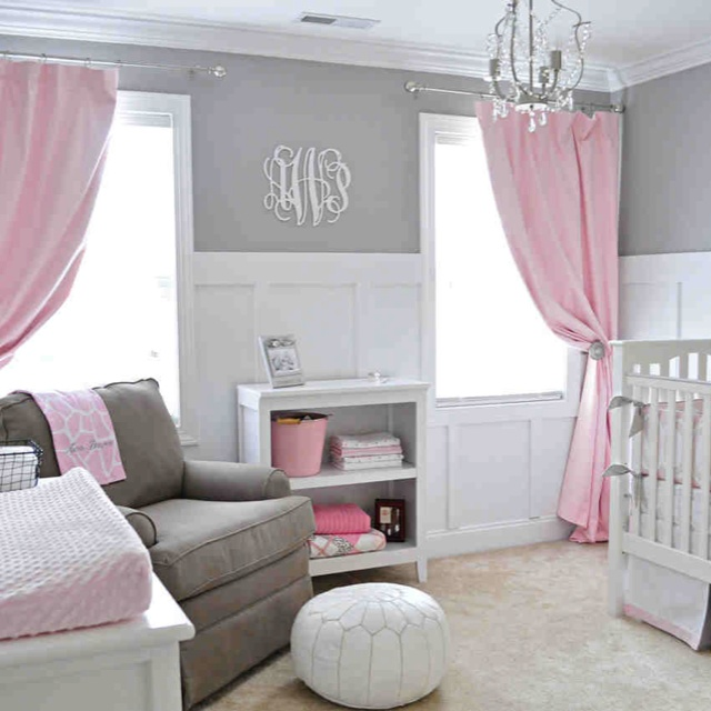 pink grey and white nursery for the home pinterest. Black Bedroom Furniture Sets. Home Design Ideas