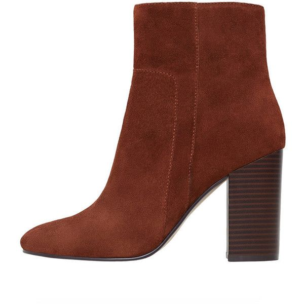Heel Leather Ankle Boot ($50) ❤ liked on Polyvore featuring shoes, boots, ankle booties, suede boots, chunky heel ankle boots, short suede boots, suede high heel boots and high heel bootie