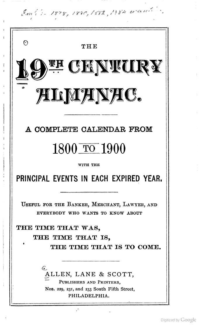 The 19th Century Almanac: A Complete Calendar from 1800 to 1900,