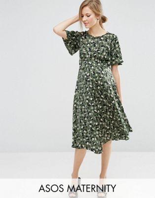 ASOS Maternity Midi Tea Dress in Animal Print