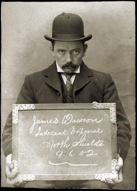 Early mug shots: James Dawson was arrested for indecent exposure at North Shields Police Station on June 9, 1902