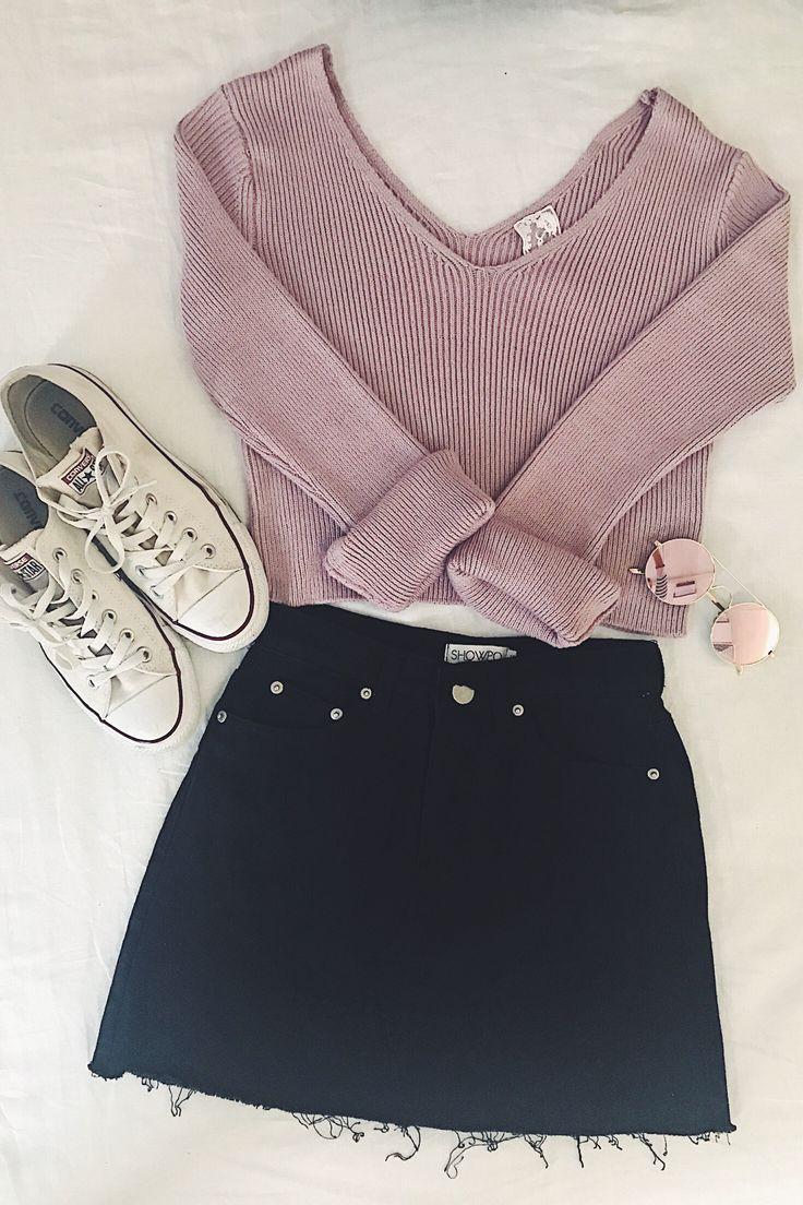 V-neck, long sleeve sweater + black mini skirt + white converse sneakers