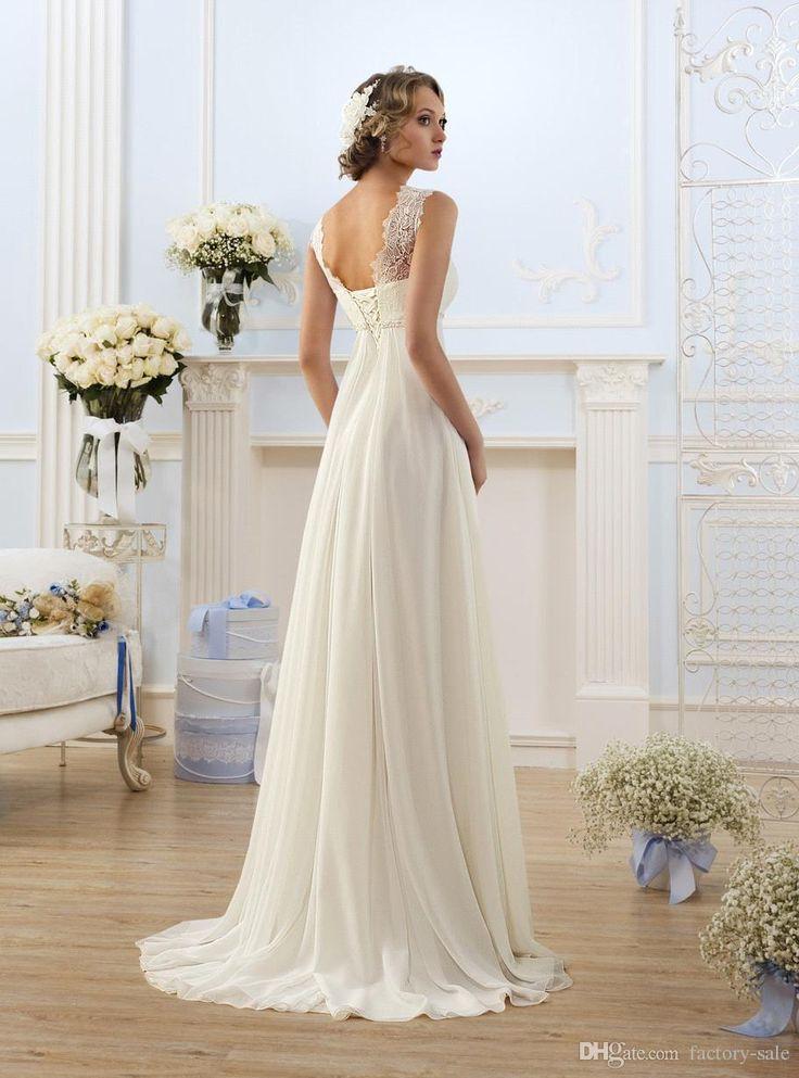 Elegant Sheath Wedding Dresses A Line Sheer Neck Capped Sleeve Empire Waist Floor Length Chiffon Cheap Summer Beach Bridal Gowns BO8190