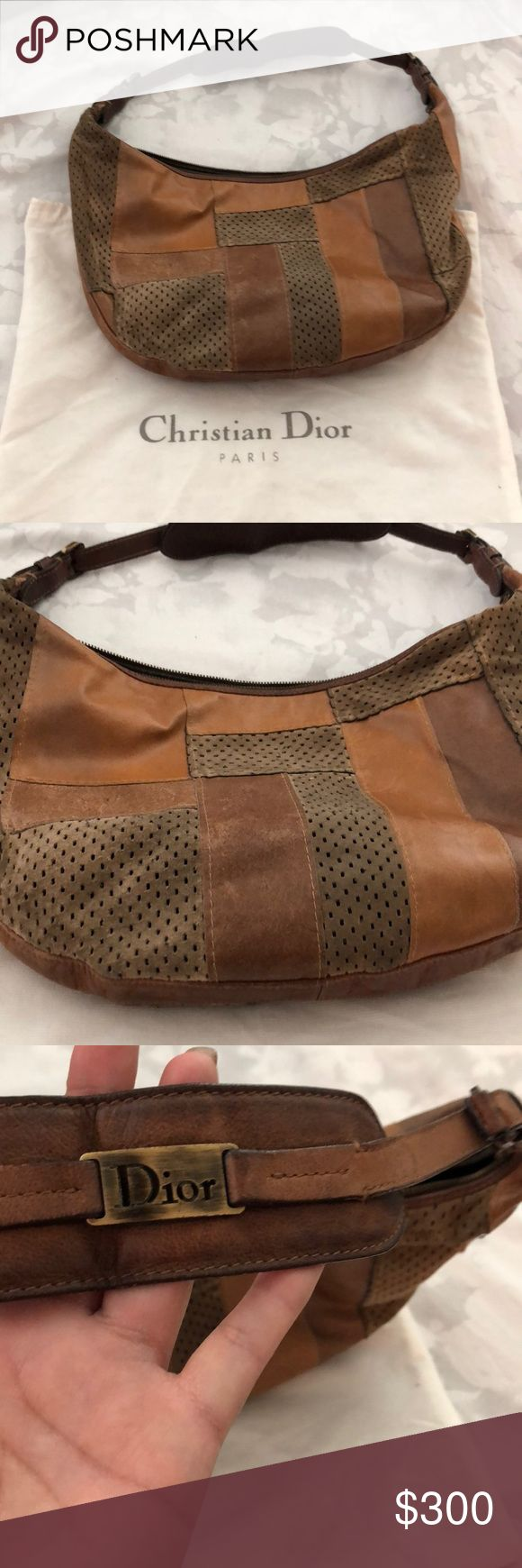 Vintage authentic Christian Dior leather patchwork Dior