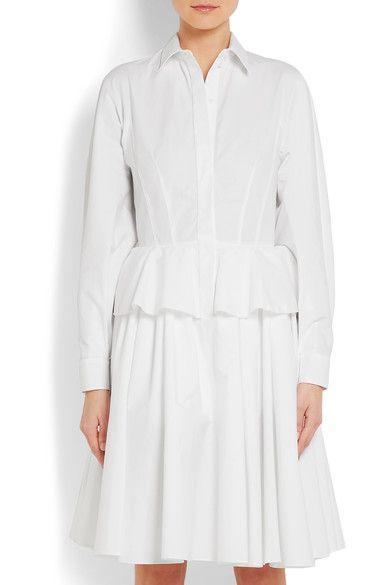 Givenchy - Cotton-poplin Peplum Shirt Dress - White - FR34