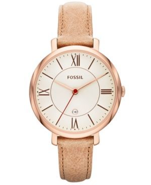 awesome Montre pour femme : Fossil Women's Jacqueline Sand Leather Strap Watch 36mm ES3487...