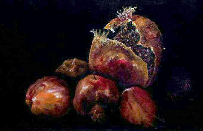 Decaying Fruit. Oil on canvas on board. 30cm wide.