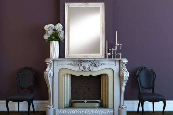 """LARGE MANTEL MIRRORS For Sale- AnY CoLOR - Large Mirror Bathroom Mirror 44""""x32"""" Ivory Framed Baroque Dresser Mirror Framed Vanity Mirror"""