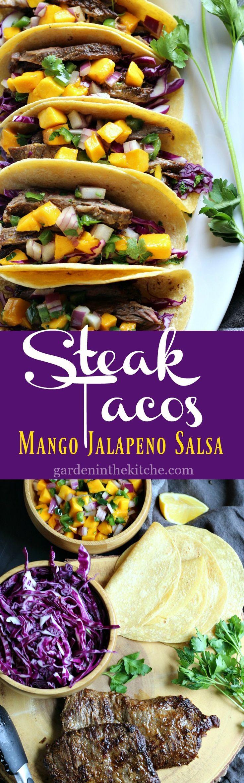 Steak Tacos with Mango Jalapeño Salsa