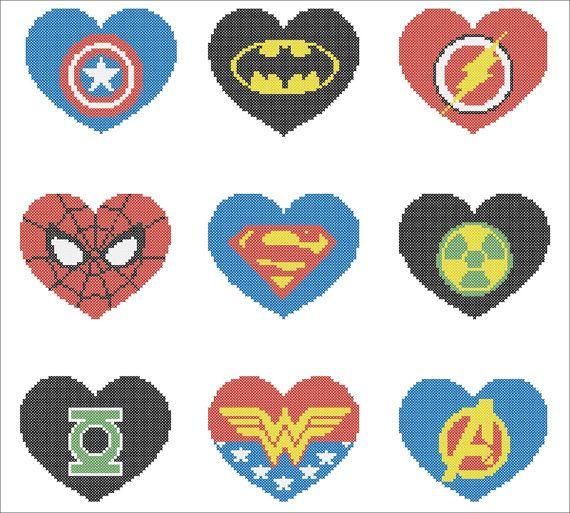 BOGO FREE! Superheroes Marvel HEARTS Logo Cross Stitch Pattern - pdf pattern instant download #124