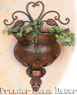 Old World Tuscan Metal Wall Pocket Planter Leaf Scroll