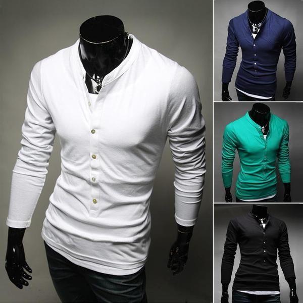 Men's Fashion Long Sleeve Slim Single T-Shirt - 4 Colors-Men's Tops-Wickydeez