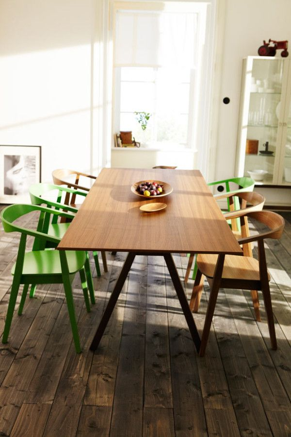 NYCxDesign 2013 Spotlight: 2013 IKEA STOCKHOLM Collection in home furnishings -Super clean, mid-century inspired walnut solid wood dining table and chairs.