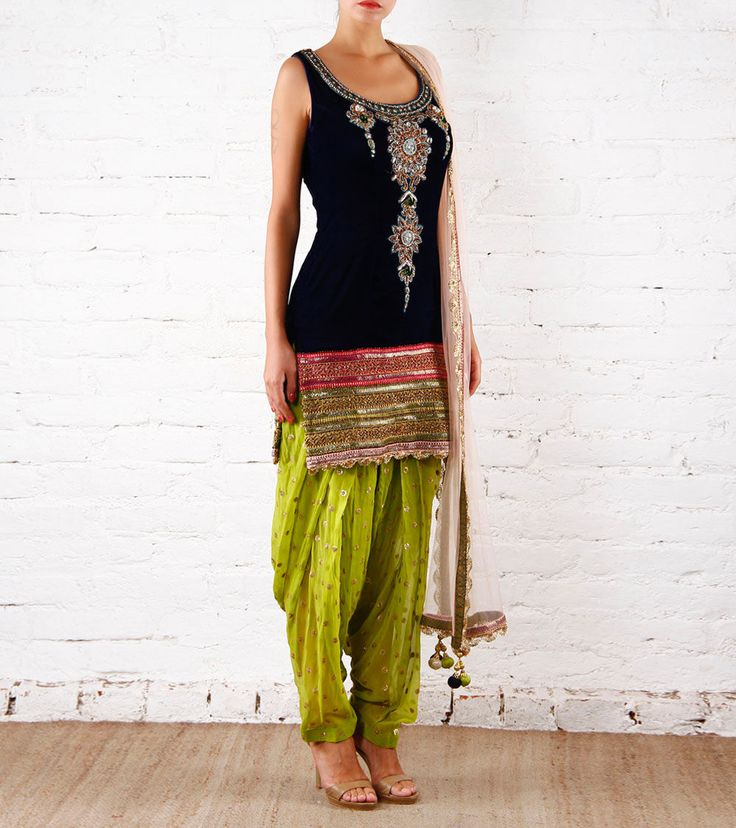 Blue & Green Velvet Patiala Salwar Kameez With Zardozi Preeti Singhal