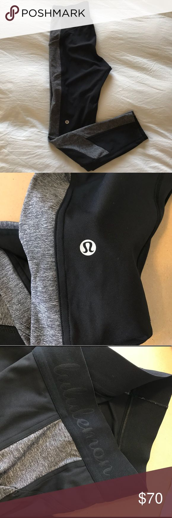 Lululemon Box It Out Tight (First Release) Super flattering and comfortable tights from our favorite workout brand! Love them but they are too big now and can't fit my iPhone 7. Worn a handful of times. No signs of wear or pilling. Washed on delicate and hung to dry.   ***site photos used to show design and fit. Selling black with gray sides that are no longer online. lululemon athletica Pants Leggings
