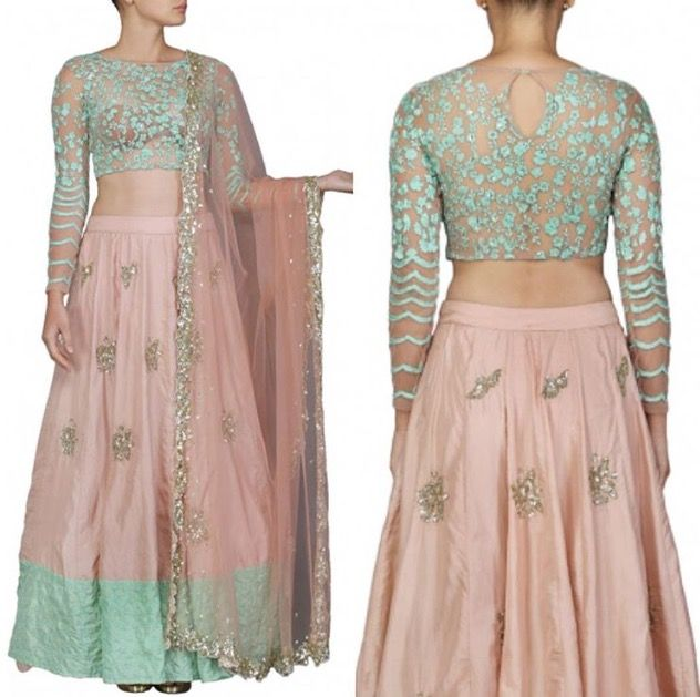Astha Narang -  Pale pink and mint embroidered lehenga