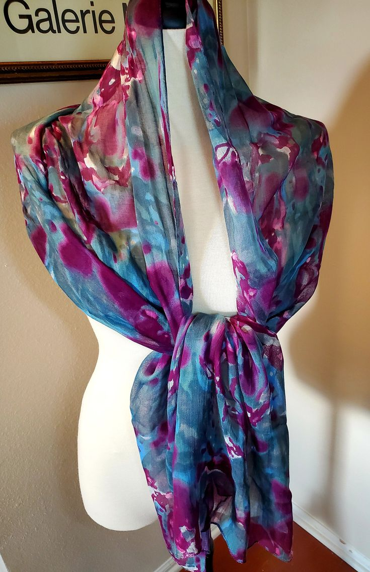 Vivante By Vsa Scarf Wrap Beach Wear 21 X 72 Etsy In 2020 How To Wear Boho Shawl Vintage Silk Scarf