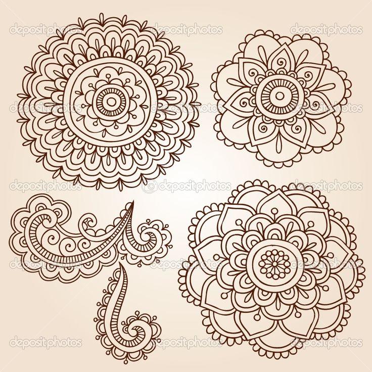 Henna Flowers | Hand-Drawn Abstract Henna Mehndi Mandala Flowers and Paisley Doodles ...