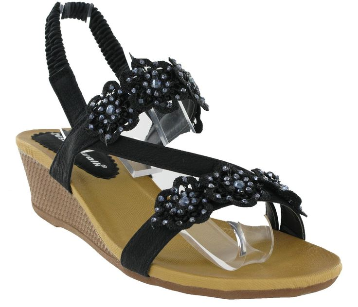 Womens Cushion Walk Comfort Slingback Open Toe Summer Sandals Wedge Shoes UK 3-8: Amazon.co.uk: Shoes & Bags