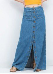 Retro Style Solid Color Buttoned Denim Skirt For Women