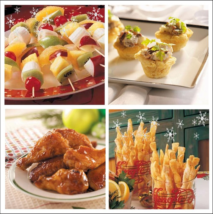 24 Festive Christmas Appetizers You Can Make-Christmas fruit kabobs, chicken salad in a basket, honey barbecue wings and crips cheese twists-plus more