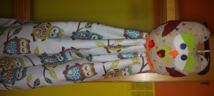 asciugapiatti con gufo in stoffa e feltro