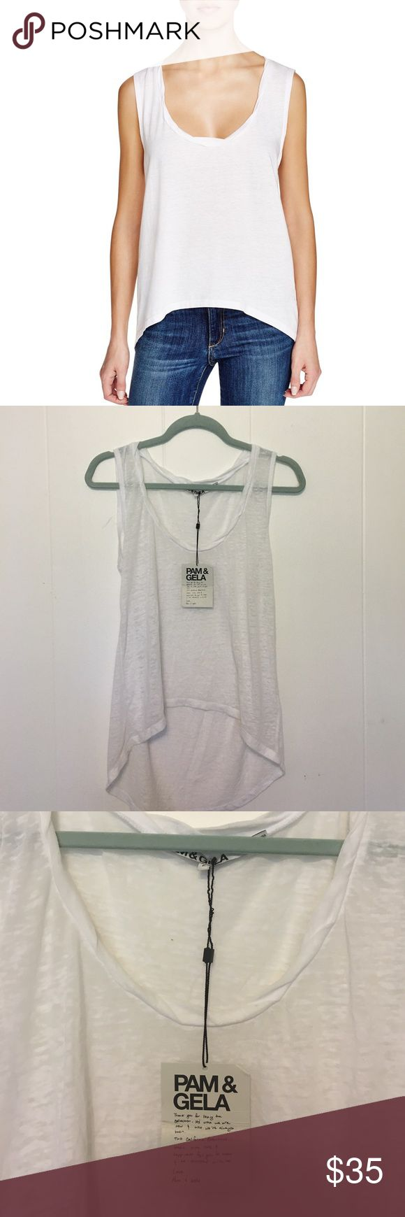 Pam & Gela tank Pam & Gela hi-lo sleeveless tee. Small hole from tag at the back neck. New with tags pam & gela Tops Tank Tops