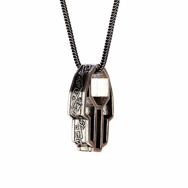 PerePaix Herren Schmuck - Kollektion Sacred Devotion Oriental - Hand der Fatima - Sterling Silber Amulett Anhänger mit Halskette (60cm): 450€