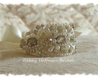 Parel bruids manchet, parel Rhinestone Crystal bruiloft Manchet armband, No. 4040CB, partij huwelijksgeschenk, Manchet armband, bruidsmeisje Manchet armband