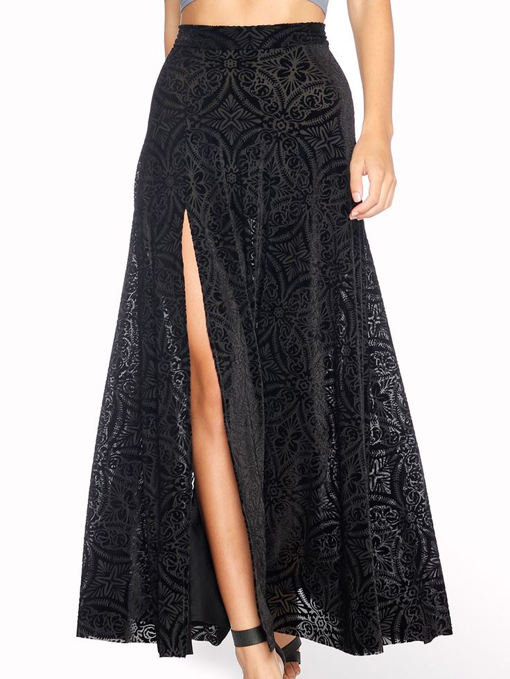 Burned Velvet Single Split Skirt (AU $99AUD / US $70USD) by Black Milk Clothing