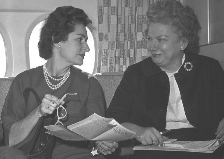 Lady Bird Johnson consults with her friend and Press Secretary Liz Carpenter who introduced her and LBJ to her friend Carol Channing. Description from carlanthonyonline.com. I searched for this on bing.com/images