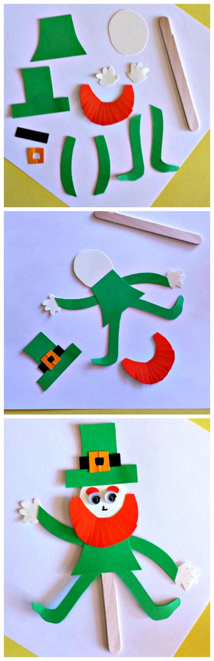 Popsicle Stick Leprechaun puppet for kids!  #art project #St Patricks Day craft | CraftyMorning.com