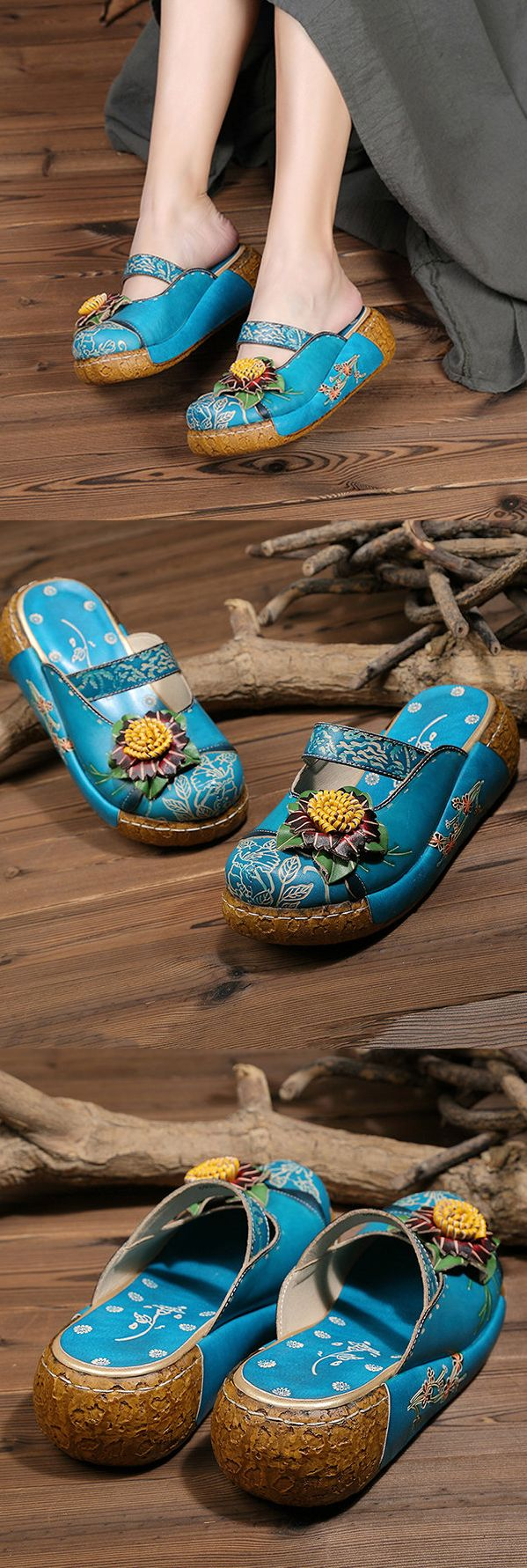 US$48.00 SOCOFY Handmade Flower Folkways Vintage Sandals