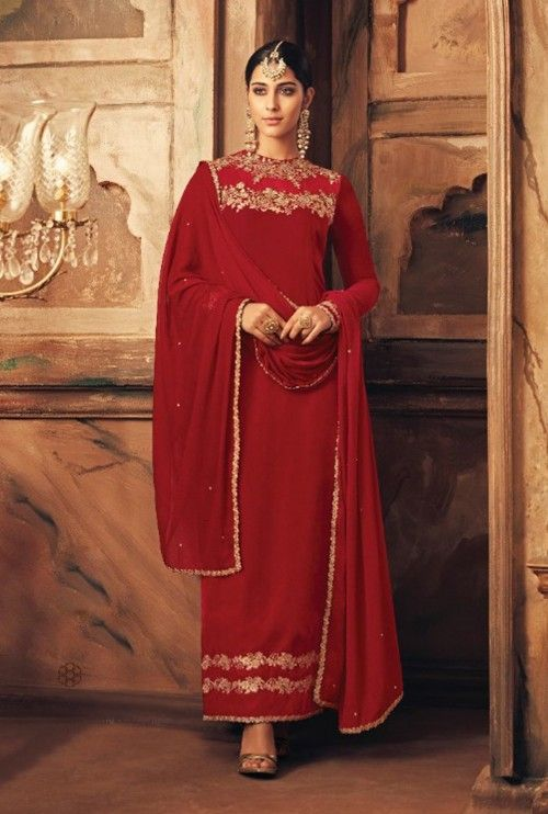 8b0931a998 Elegant red partywear straight cut suit online which is crafted from velvet  fabric with exclusive embroidery work. This stunning designer straight cut  suit ...